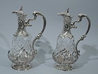French Belle Epoque Silver & Crystal Decanters C 1890
