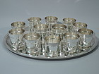 Buccellati Hand-Hammered Drinks Set - 12 Cups on Tray