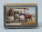 Austrian Silver Enamel Box with Horse & Dog C 1925