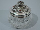 American Sterling Silver & Cut Glass Vanity Jar C 1910