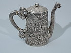 Dramatic Chinese Silver Teapot by Khecheong C 1851