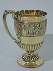 Victorian Greek Revival Sterling Silver Gilt Mug 1874