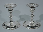 Pair of Fancy Sterling Silver Candlesticks