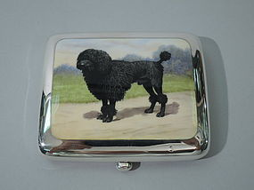 English Silver Cigarette Case with Enamel Poodle 1924