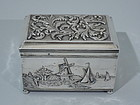 Dutch Silver Casket Box with Windmill 1909