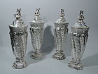 Large & Elegant English Sterling Silver Covered Vases