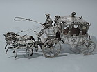 Large Rococo Horse-Drawn Coach - German Silver C 1900