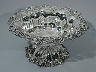 Large Sterling Silver Footed Bowl with Flowers C 1900