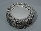 American Sterling Silver Plates with Roses C 1900
