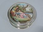 French Rococo Box in Silver and Enamel C 1920