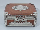 Antique Neoclassical Silver and Mahogany Box C 1880