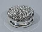 Kirk Silver Trinket Box with Floral Repousse C 1890