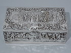 German Silver Box with Country Life Scenes C 1900