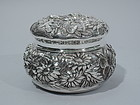 Baltimore Sterling Silver Trinket Box with Floral Repousse C 1900