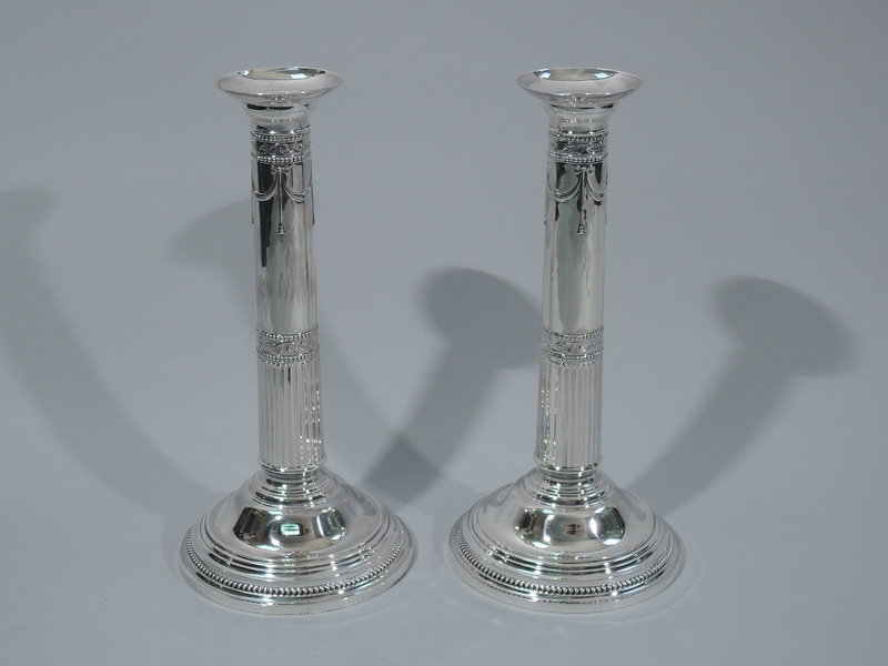 Pair of Fine Antique Neoclassical Candlesticks by Gorham 1898