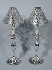 Pair of Antique Sterling Silver Candlesticks with Gorham Shades C 1900