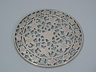 Antique Trivet with Silver Floral Overlay