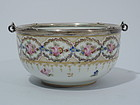 Antique French Porcelain Bowl with Silver Mount