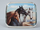 German Silver & Enamel Cigarette Case with Horses C 1920