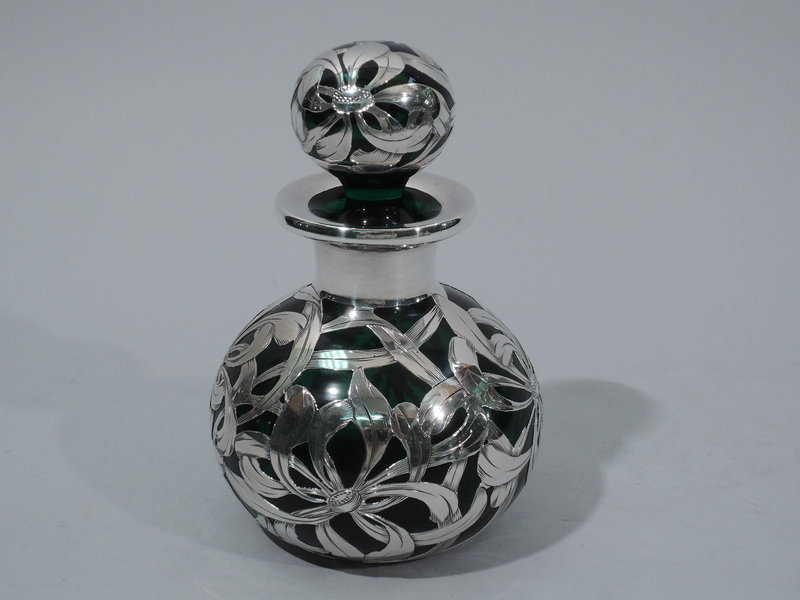 Antique Emerald Glass Perfume Bottle with Floral Overlay