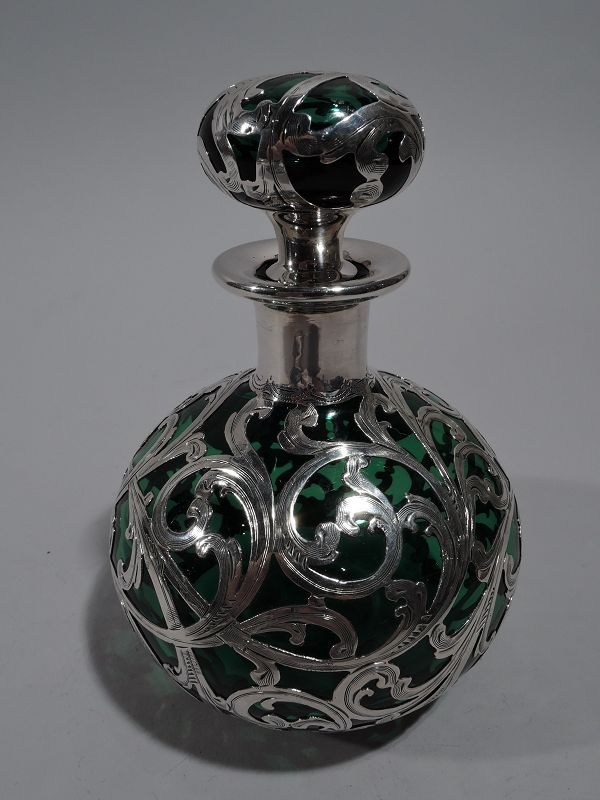 Alvin Emerald Glass Perfume with Scrolled Silver Overlay