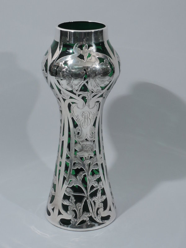 Art Nouveau Emerald Glass Vase with Silver Overlay by Alvin