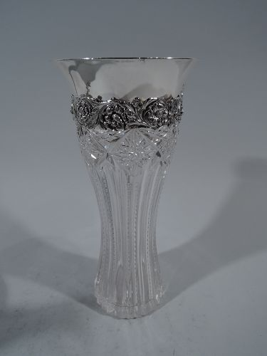Tiffany Vase Antique American Brilliant Cut Glass Abc Sterling