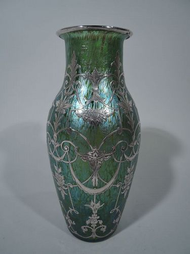 Antique Loetz Art Glass Vase With Silver Overlay Item 1371481