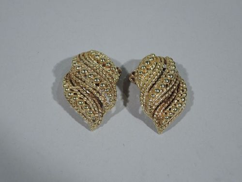 Pair Of Snazzy 1960s American Modern 14k Gold Clip On Earrings