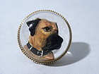Antique 15k Gold Essex Crystal Dog Pin Circa 1880