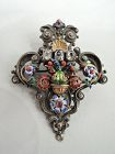 Renaissance Revival Silver And Gold Enamel Brooch