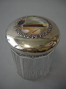 Enamel And Sterling With Crystal Cigar Humidor 1890