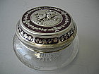 French Enamel And Silver Mounted Powder Jar Circa 1900