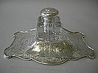 Crystal And Sterling Inkwell On Stand Gorham 1905