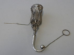 European Antique Silver Posy Holder Tussie Mussie 1880
