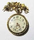 Art Nouveau 14Kt Lapel-watch with Broach