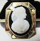 Stone Cameo set in Two Tone 14Kt Gold