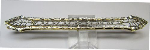 14Kt Two-tone Filigree Bar Pin