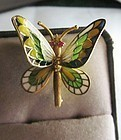 Movable Plique-a-jour 18Kt Gold Butterfly Broach