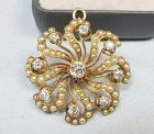 Diamond and Pearl �Pinwheel� Broach / Pendant