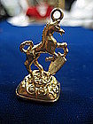 9 kt English Horse and Crest Gold Watch Fob with Onyx