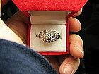 Pierced Work Platinum and Diamond Engagement Ring