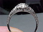 Filigree 18 Kt White Gold and Diamond Ring
