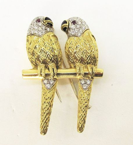 Pair of 18Kt Gold and Pave Diamond Love Birds