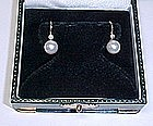 Cultured Pearl and Diamond 14Kt Gold Earrings