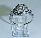18Kt White Gold Filigree Diamond Ring