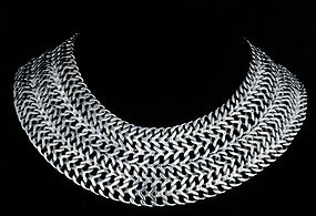 STUPENDOUS FARFAN MEXICAN SILVER CLEOPATRA NECKLACE