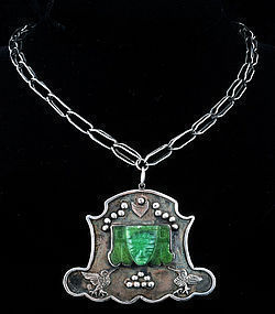 OLD TAXCO MEXICAN 960 SILVER JADE PENDANT NECKLACE
