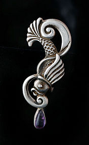 AEM MEXICAN SILVER AMETHYST REPOUSSE FISH EARRINGS