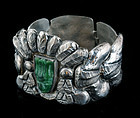 EXCEPTIONAL EARLY TAXCO REPOUSSE CARVED JADE BRACELET